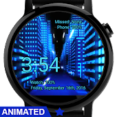 Watch Face Neon City Wallpaper