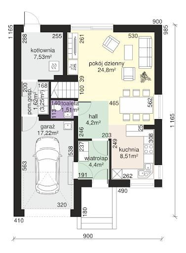 Dom przy Amarantowej - Rzut parteru