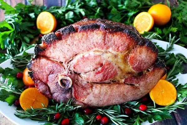 Honey Baked Ham Ready To Be Sliced.
