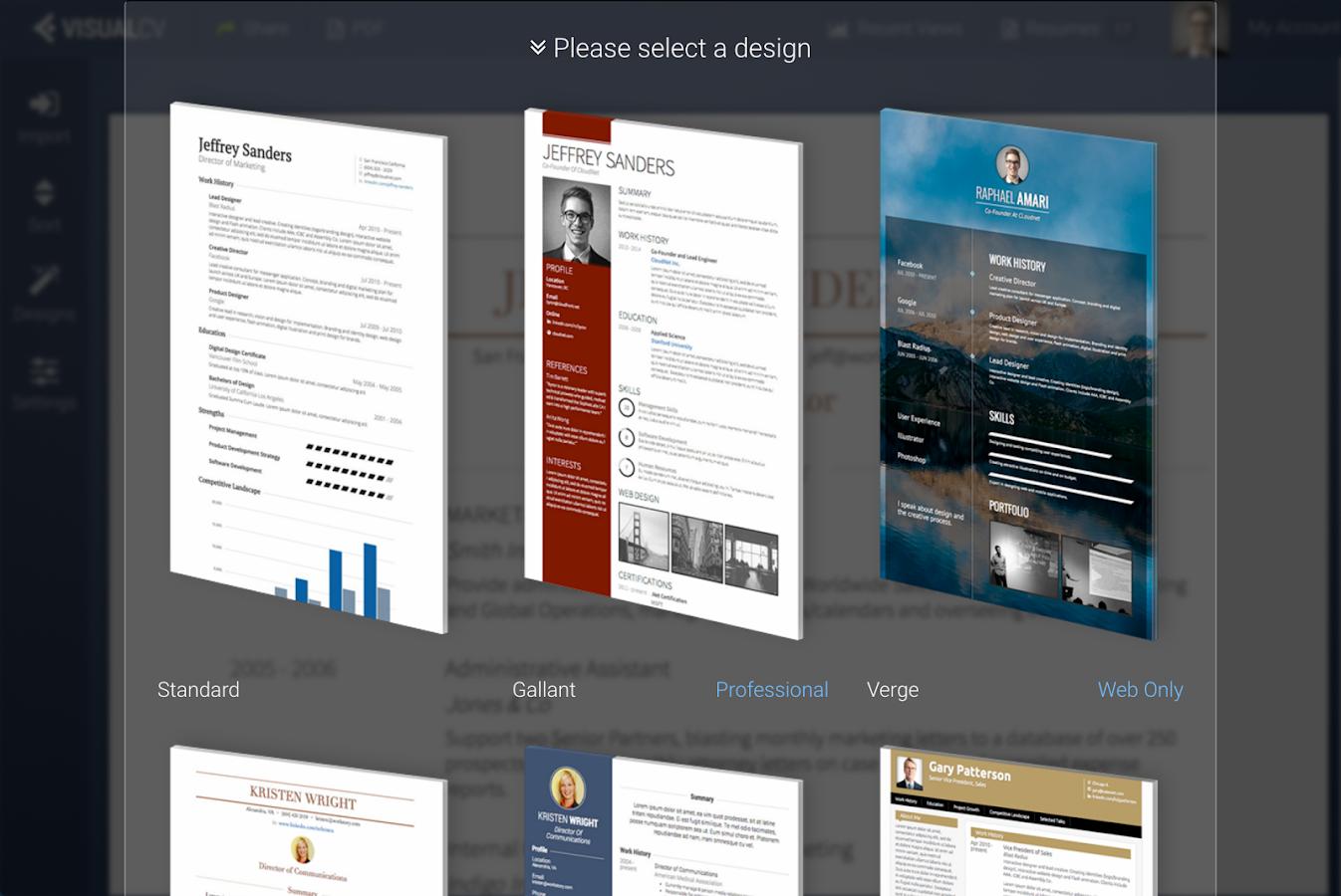 visualcv resume builder