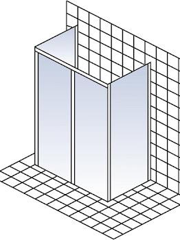 Schiebetür 2-teilig ohne unteres Profil mit 2 Seitenwänden als U-Kabine