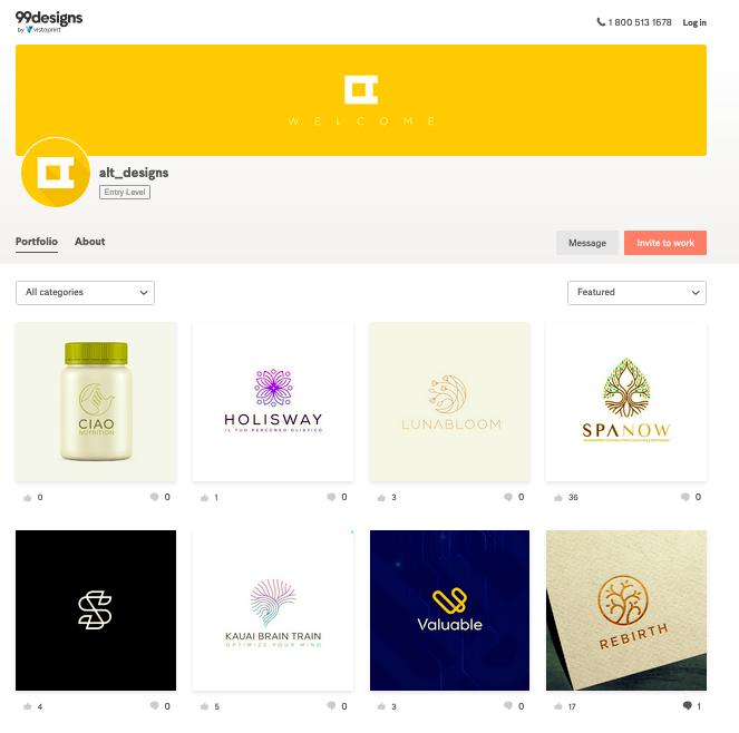 99designs review: screenshot of an Entry Level designer's portfolio
