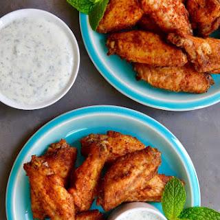 Crispy Baked Moroccan Chicken Wings with Yogurt Dip.