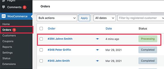 custom product order process