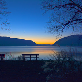 Plum Point Dawn by Angelo Marcialis - Landscapes Waterscapes ( dawn, waterscape, hudson valley, new york, hudson river )