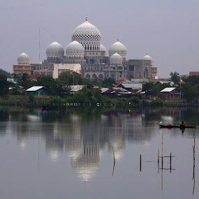 The Mosque by Khairi Went - Uncategorized All Uncategorized ( water, reflection, nature, mosque, fisherman, landscape, activity,  )