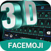 3D Neon Hologram Black Keyboard Theme & Emoji