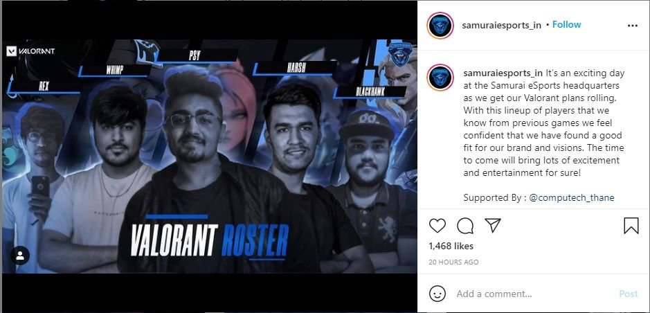 """Samurai eSports has also launched its Valorant roster, spearheaded by captain Simar """"Psy"""" Sethi"""