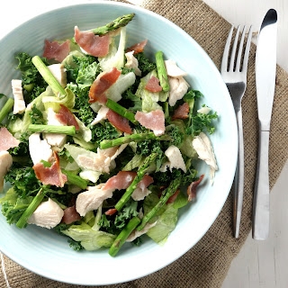 Chopped Chicken Bacon Salad with Grilled Asparagus