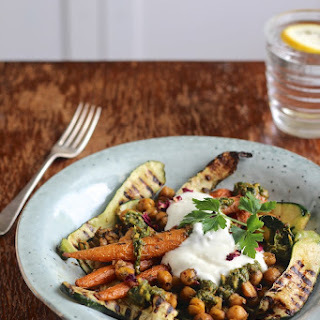Rose Chermoula Roasted Chickpeas & Carrots with Griddled Courgettes