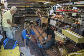 Photo: Setting up the long train in the shop...be sure to watch the video of the long train on the 'RGGR Videos' album.
