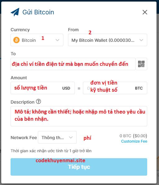 form gửi BTC ví tiền điện tử Blockchain