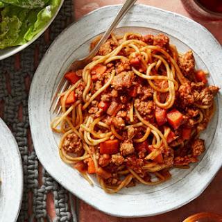 Spaghetti Bolognese with Butter Lettuce Salad & Creamy Italian Dressing Recipe