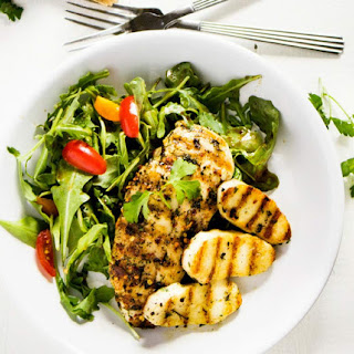 Grilled Chicken & Halloumi with Arugula Salad Recipe