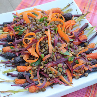 Roasted and Fresh Carrots with Lentils