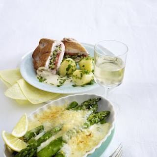 Stuffed Turkey with Parsley Potatoes and Asparagus Gratin