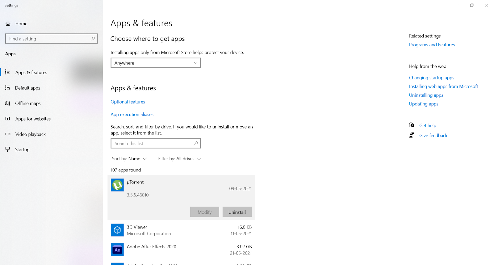 The Apps & Features page in the Windows Settings