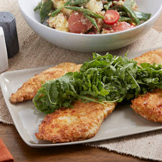 Pan-Fried Francese-Style Chicken with Arugula & Green Bean-Potato Salad.