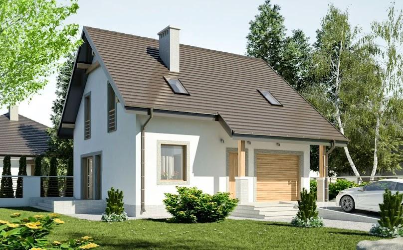 Projekt domu Turkawka z garażem 1-st.