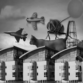 THE RACE by Anthony Power - Digital Art Abstract ( tower, moon, cat, plane, fly, woman, apartment complex, jet, race )
