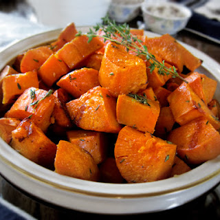 Garlic Thyme Roasted Sweet Potatoes