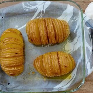Rustic, Garlic Hasselback Potatoes.