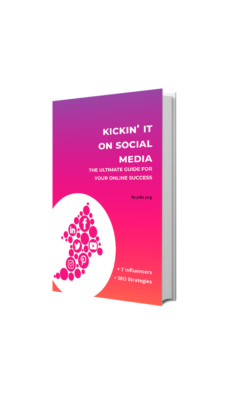 pink ebook cover with title Kickin' It On Social Media'