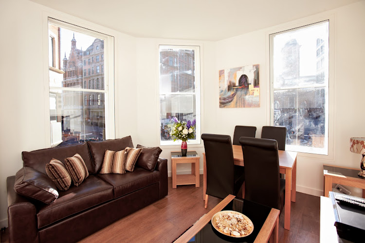 Spacious living area at London City Apartments
