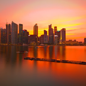 MBS Sundown by Jibo Barroga - Landscapes Sunsets & Sunrises ( waterscape, sunset, buildings, travel, landscape )