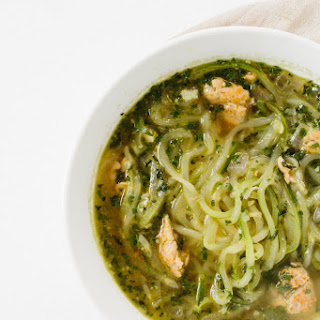 Pesto and Chicken Sausage Soup with Zucchini Noodles