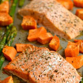 One Pan Baked Salmon Asparagus & Sweet Potato.