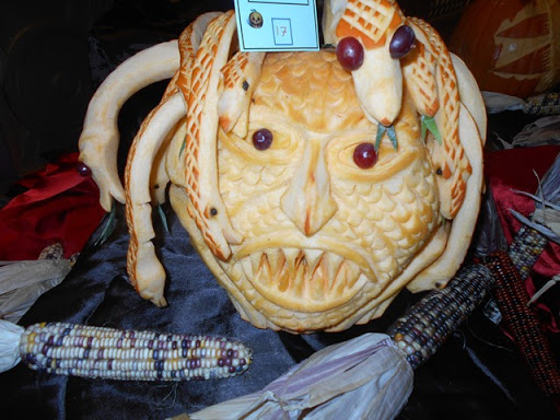Part of a pumpkin carving contest on Queen Mary2
