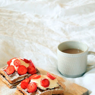 Brown Butter Cinnamon Sugar Waffles with Mascarpone and Strawberries
