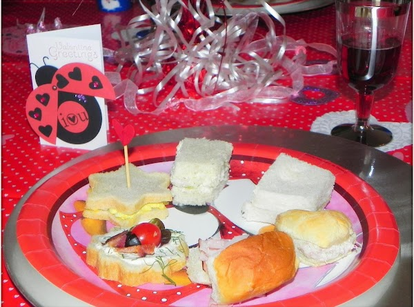 Here is a photo of some of the tea sandwiches from the Valentine party...