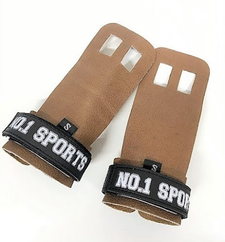 No.1 Sports Pull Up Grips Brown Leather - Medium