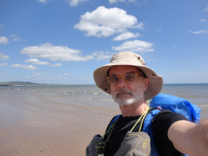 Photo: Walking barefoot the long beach of Leven Links