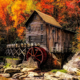 Babcock Old Mill by Dave Walters - Buildings & Architecture Public & Historical ( fall, nature, mills, babcock state park, colors, landscape,  )
