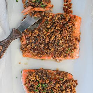 Baked Pecan Bourbon Salmon.
