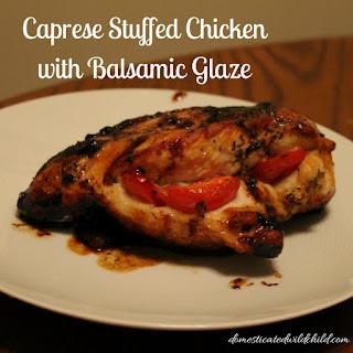 Caprese Stuffed Chicken with Balsamic Glaze.