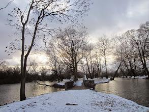 Photo: Snowy bridge connecting islands at Eastwood Park in Dayton, Ohio.