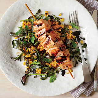 Gingered Salmon with Grilled Corn and Watercress Salad.