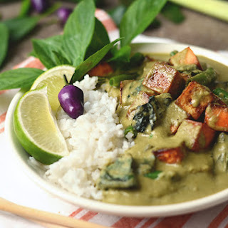 Vegan Thai Green Curry from scratch with Sweet Potatoes, Tofu, and Green Beans