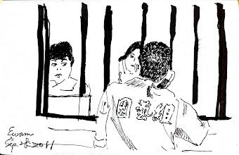 Photo: 望君早歸2011.09.29鋼筆 鐵窗分隔似千里 言語難盡相思意 夏日已去秋意濃 還望夫君多添衣
