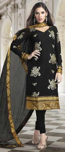 Photo: Black Faux Crepe Churidar Kameez with Dupatta  Itemcode: KSU7B  Price: US$ 69.84  Shop @ http://www.utsavfashion.com/store/sarees-large.aspx?icode=ksu7b