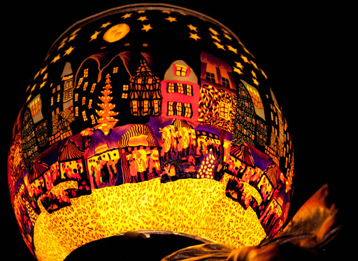 A brightly lit decoration during the Christmas market in Stuttgart, Germany.