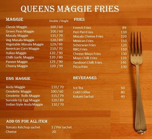 Queen Maggie Fries menu 2