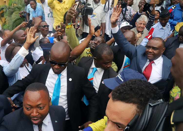 Congolese opposition leader Jean-Pierre Bemba waves to supporters in Kinshasa, DRC, August 1 2018. Picture: REUTERS