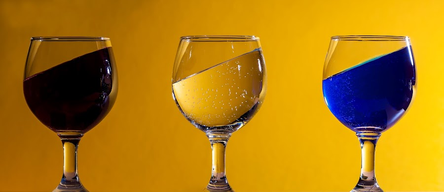 RED,WHITE ANDBLUED by Russell Mander - Food & Drink Alcohol & Drinks ( glass, abstract art, drink, landscape, colours,  )