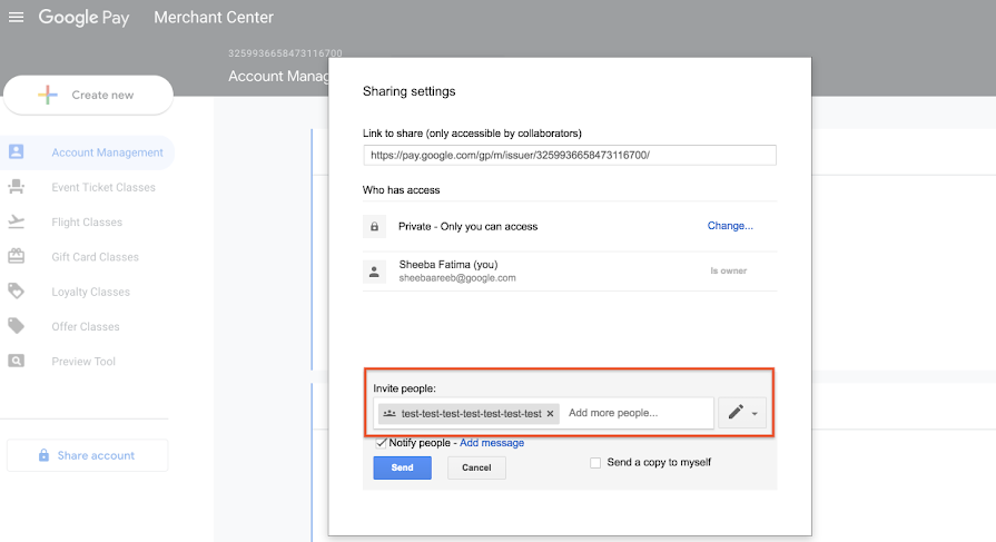Save to Google Pay Merchant Center - Sharing Settings