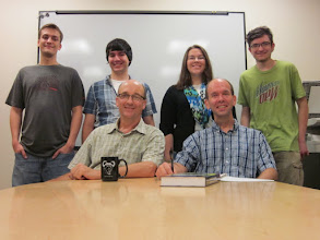 Photo: LVC Math Physics summer 2013. Standing: Adam Rosier, Anthony Hoover, Sarah Black, Ian Finley. Seated: David Lyons, Scott Walck.
